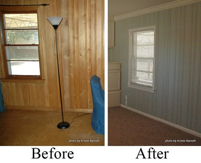 Before after wood paneling twobertis How to disguise wood paneling