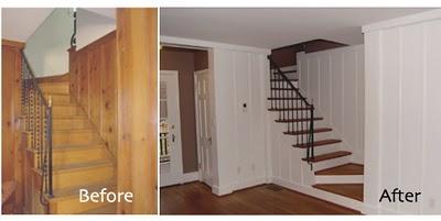 http://blog.baerhomedesign.com/2011_10_01_archive.html - Before & After Wood Paneling Twobertis