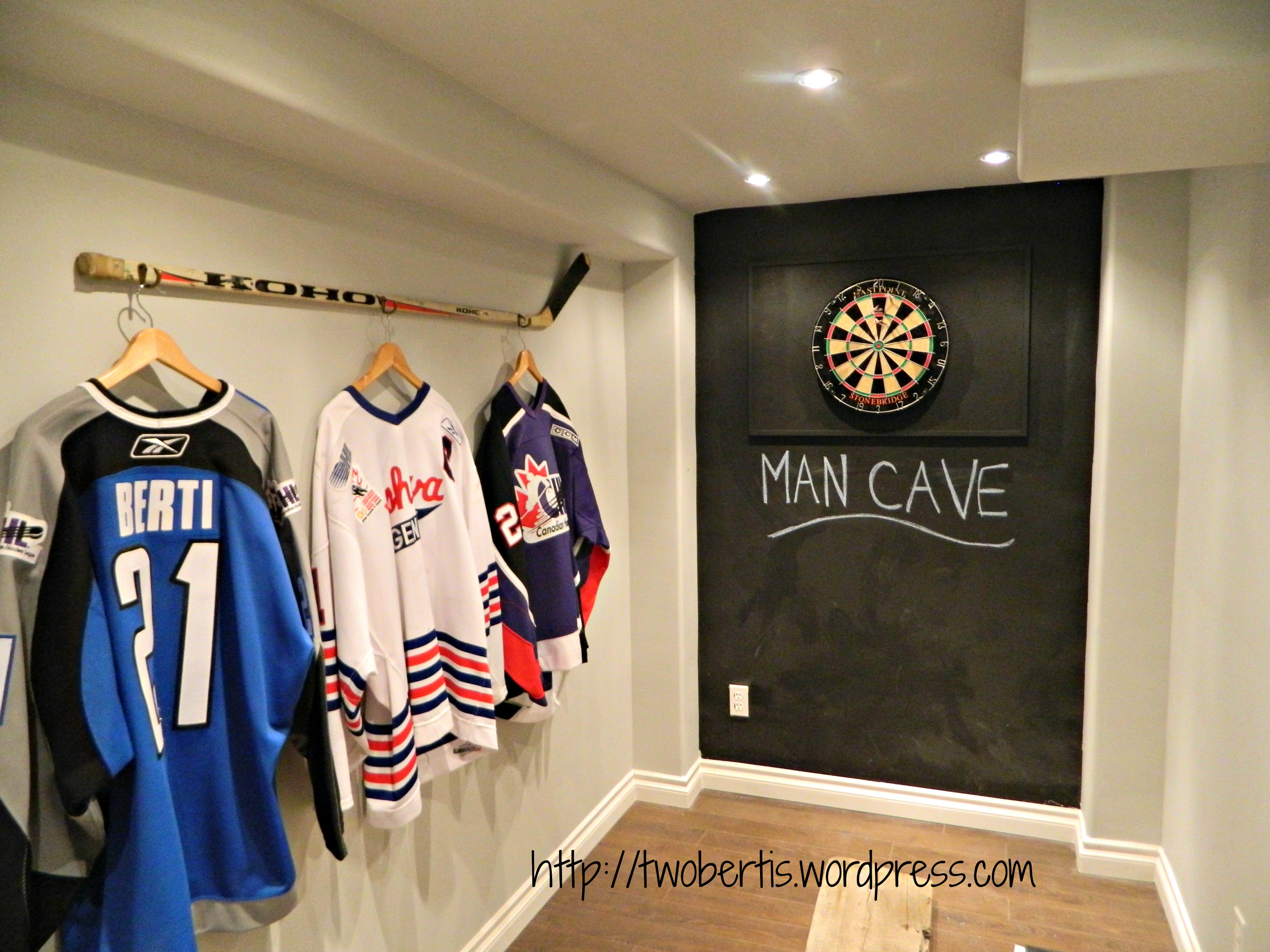 Man Cave Nj : Hanging a hockey stick with jerseys twobertis